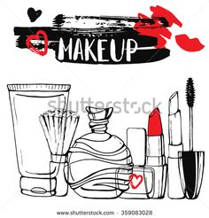 Template  Cosmetics and makeup card. Hand drawn illustration.  Calligraphy. Ink. Lettering. Sketch. Inscription.