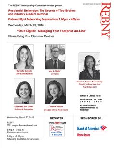 If you want to fast forward your presence on Social Media & get up-to-date on the best apps, join me and a great panel of industry experts on 3/23 at REBNY.