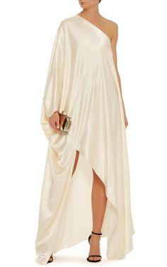 Rosetta Getty One Shoulder Bias Caftan Satin Gown