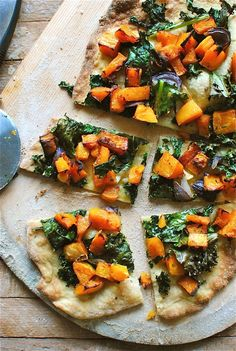Roasted Butternut Squash and Kale Pizza Or bacon, mozarela and basil