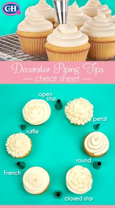 Decorator Piping Tips Cheat Sheet | Keep this handy guide at the ready to brush up on the frosting designs for cakes and cupcakes that can be created with the most common piping tips.