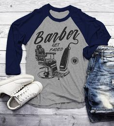 Items similar to Men's Barber T-Shirt Get Faded Vintage Raglan Chair Clippers Shirt For Barbers Sleeve on Etsy Old School Barber Shop, Barber Gifts, Raglan Shirts, Womens Size Chart, 1 Oz, Vintage Tees, Going Out, Shirt Designs, Cotton Muslin