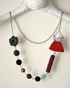 handmade beads necklace red dress by stellacreations on Etsy, $38.00