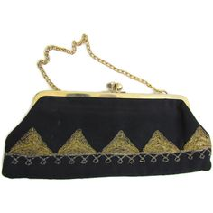 Black Gold Clutch Bag 1920s Gatsby Wedding Purse Bag Art Deco... ($29) ❤ liked on Polyvore featuring bags, handbags, clutches, beaded evening purse, gold evening clutches, gold evening purse, evening hand bags and gold handbags