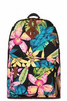 Juice action Floral Print Canvas Backpack Travel Bag