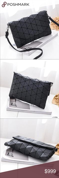 Black geometric clutch bag with strap Just in! Great clutch bag with shoulder strap. Could also be used to keep your essentials organized in your work tote. No dust bag or box. Made of PU with polyester lining. Measures about 10 by 7. Adjustable removals strap can be worn shoulder style or cross body Bags Clutches & Wristlets