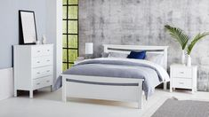 The modern design Argo bedroom suite will add an understated, yet casually stylish feel to your bedroom. Suite includes a queen bed, 2 bedside tables and a tallboy. Queen Bedroom Suite, King Single Bed, Argo, Home Entertainment, White Bedding, Queen Beds, Smart Home, Floor Rugs, Modern Design