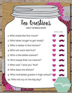 Mason Jar Ten Questions Bridal Shower & Wedding by HTBHandmade