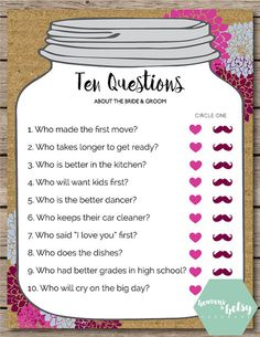 This printable Ten Questions game is perfect for any Bridal Shower or Wedding. Keep guests entertained while watching a bride open gifts at a shower,