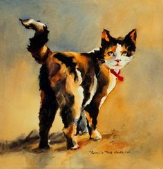 MOUSER THE CAT Print from Original Watercolor Painting by Pat Weaver