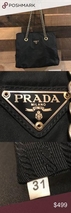 6d32dd2863aa64 Prada Milano Logos Chain Shoulder Bag •Pre-loved •Prada •Great condition  •No rips or tears •Light wear in chain •Black Nylon •Zipper pocket inside  •Great ...