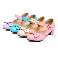 2016 Womens Girls Bowknot Lolita Chunky Heel Mary Janes Pumps SHoes Plus Size