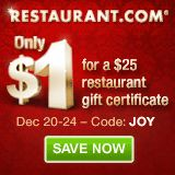 Only $1 for $25 Restaurant Gift Certificates!