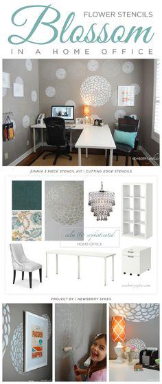 A gray stenciled office makeover using the Zinnia Grande pattern. http://www.cuttingedgestencils.com/flower-stencil-zinnia-wall.html