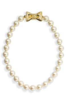 kate spade new york 'all wrapped up' short glass pearl necklace