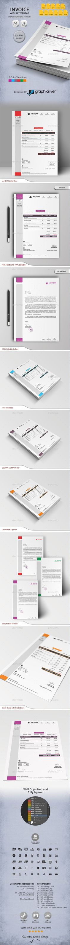 Invoice with Letterhead Template #print #design Download: http://graphicriver.net/item/invoice-with-letterhead/11031526?ref=ksioks