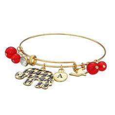 Houndstooth Elephant Bracelet Gold Or Silver 8 University Of Alabama Football