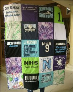 T-shirt quilt - Click HERE for the steps - I have so many gymnastics shirts to do this with