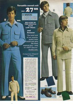 Leisure Suit: a casual suit consisting of a shirt-like jacket and matching trousers, 1970s fad