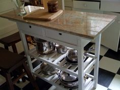 IKEA Forhoja kitchen cart with granite counter on top