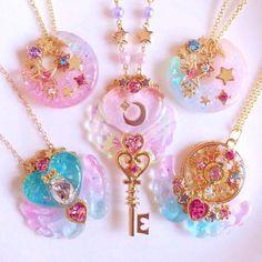 Kawaii Accessories, Kawaii Jewelry, Cute Jewelry, Jewelry Accessories, Estilo Hippie, Magical Jewelry, Resin Charms, Fantasy Jewelry, Resin Art
