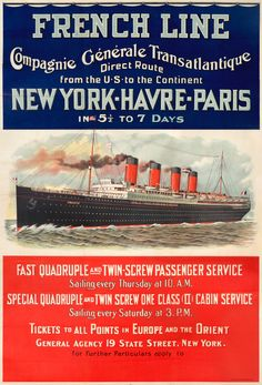 French Line CGT New York Havre Paris in 5 1/2 to 7 days by Artist Unknown | International Poster Gallery
