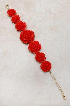 Red Rose Statement Bracelet on Emma Stine Limited