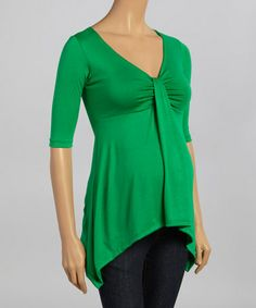 This Green Maternity Sidetail Top is perfect! #zulilyfinds