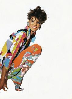 Linda Evangelista wearing Pucci for Vogue US, May 1990 Photographer Irving Penn