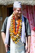 Prince Harry is given a Topi a traditional Nepalese hat at Danna homestay village on day three of his visit to Nepal on March 21 2016 in Bardia Nepal...