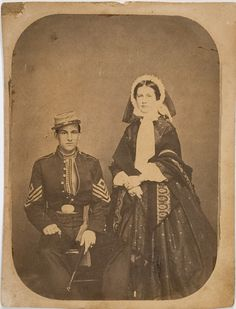 First Sergeant Daniel Bowly Thompson Baltimore militiaman with extensive wartime Confederate service identified in period pencil on verso as D.B. Thompson with a faint date of April 26, 1861. This is First Sergeant Daniel Bowly Thompson with an unidentified female companion wearing the undress uniform of the Maryland Guard Battalion of Baltimore formed in 1859, nominally part of the state`s 53rd Militia Infantry Regiment.