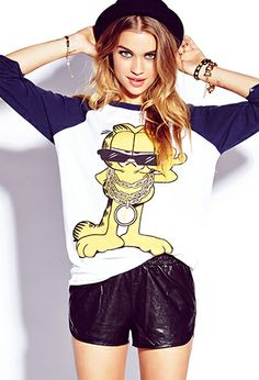 Very Cute Garfield Baseball Tee from Forever 21 Fresh Prince, Claudia Schiffer, Teen Girl Fashion, All Fashion, New Outfits, Fall Outfits, Grunge, Hip Hop, Girl Trends