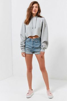 e651aff4f70 Champion UO Exclusive Cropped Hoodie Sweatshirt
