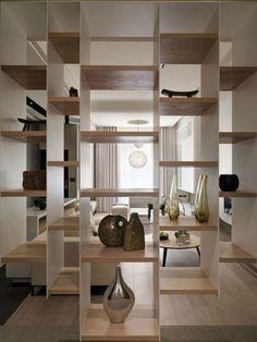 etagere alinea en bois design moderne en bois clair, salon chic
