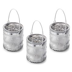 'Francis' Trio Set of Silver Glass Votive Tealight Holders for Home or Garden #home #décor #lantern
