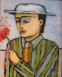 """She Loves Me, She Loves Me""  by artist Peggy Juve. reverse oil painting on glass"