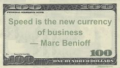 Marc Benioff Money Quotation saying at World Economic Forum event in Davos in 2016 that being able to move quickly to ride the wave of market forces is more valuable than cash