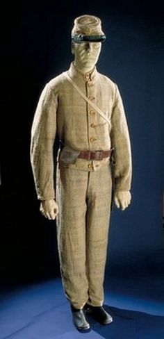 This is a typical Civil War uniform worn by a Confederate soldier.