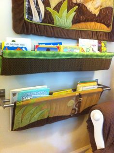 How creative! Use the crib bumper to make a book sling in your nursery. Much safer than using them in the crib!
