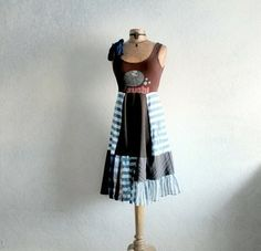 Upcycled Brown Dress Blue Stripe Bohemian Clothing Casual Sundress Sushi Fish Boho Chic XS S