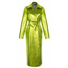 Metallic Wrap Coat | Moda Operandi ($3,705) ❤ liked on Polyvore featuring outerwear, coats, wrap coats, green coat, metallic coat, calf-length coats and midi coat