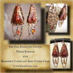 Polymer clay that I molded and hand painted and sealed. Backed by hand cut and hammered copper sheet metal given a patina and sealed. Dresed up with copper chain and Swarovski crystals. By Gaia Copia.