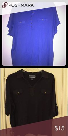 Bundle of Karen Scott cotton Henley's  3x These are two of the same style shirts one in an Blue and one in black. Both are in very gently worn condition and have been dry cleaned for care. Nice daily comfortable pieces a Dillards house brand. Karen Scott Tops Tees - Short Sleeve