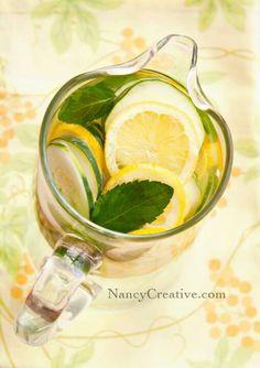 Detox water with cucumber, lemon & mint.