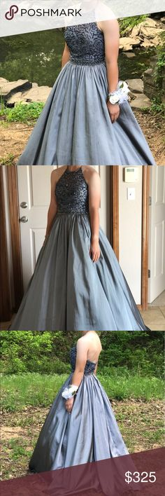 Sherri Hill prom dress Gray prom dress. Open back. Sherri Hill Dresses Prom