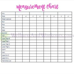 Printable Body Measurement Chart Weight Loss | home | Pinterest ...