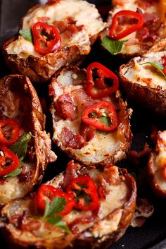 Cheesy jalapeño popper potato skins @FoodBlogs