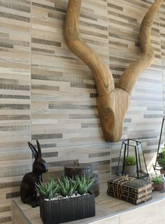 The latest trends in wood-look tiles include designs which combine different shades of wood to create an exciting new interpretation of cladding. This is ideal for creating a warm feature wall above a fireplace, on a covered patio or for the entrance hall. #featurewall #woodlook #naturallybeautiful #cladding #home #homedecor #trendingdesign #homegoals Feature Walls, Wood Look Tile, Trendy Home, Entrance Hall, Naturally Beautiful, Cladding, Design Trends, Floors, Latest Trends
