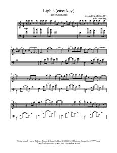 Lights - Ellie Goulding (easy key). Find more free sheet music at www.PianoBragSongs.com.