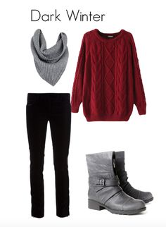 """""""Dark Winter: These pitch black jeans might ve just as good, if not better, on a True Winter, but a True Winter might wear them with a crisp white shirt or a bright red sweater. The Dark Winter will choose a sweater in burgundy or aubergine instead of bright red, and perhaps choose pewter leather boots and a grey wool snood."""""""